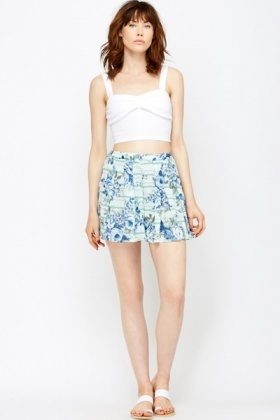 Pleated Printed Swing Shorts