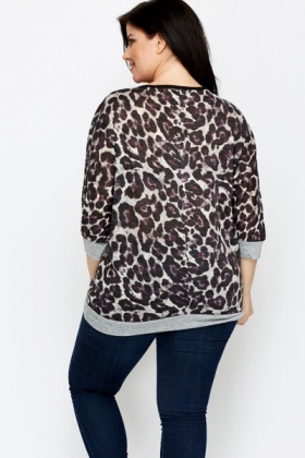 Animal Print Fleece Top