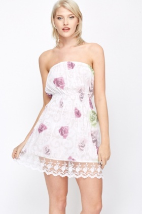Lace Hem Bandeau Dress