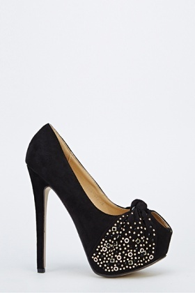 Studded Ruched Front Open Toe Heels