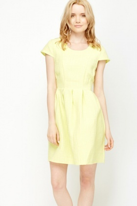 Light Lemon Cap Sleeve Pleated Dress
