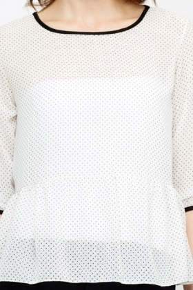 Pleated Hem Dotted Blouse