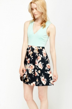 Plunge Neck Contrast Skater Dress