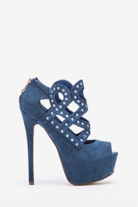 Studded Cut Out Suedette High Heels