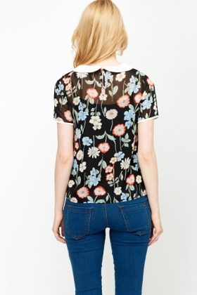 Collared Multi Floral Blouse