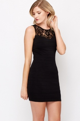 Lace Top Sleeveless Bodycon Dress