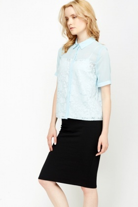 Light Blue Floral Sheer Blouse