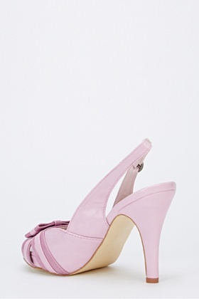 Purple Bow Front Sling Back Heels