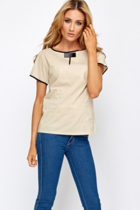 Contrast Trim Bow Front Top