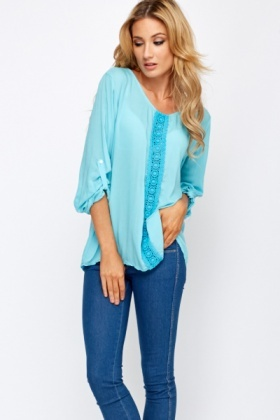 Crochet Panel Loose Fit Blouse