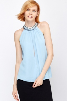 Encrusted Neck Cut Out Front Top