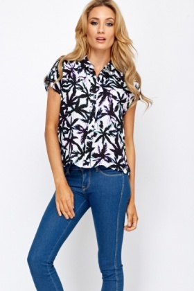 Palm Tree Print Blouse
