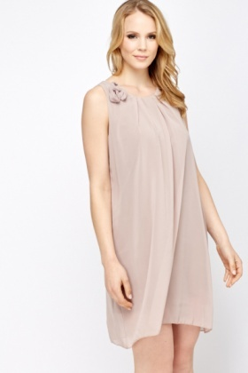 Ruched Floral Sheer Shift Dress