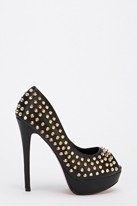Spike Studded Open Toe Heels