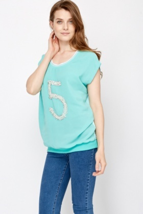 Embellished Number Top