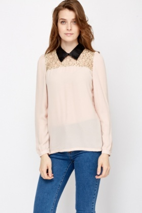 Lace Insert Collared Top