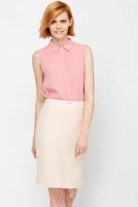 Peach Crochet Overlay Skirt