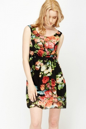 Black Multi Floral Skater Dress