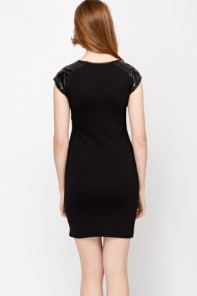 Laser Cut PU Sleeve Dress