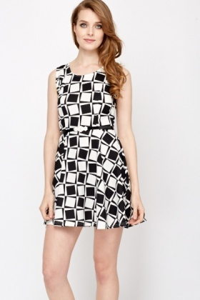 Mono Block Belted Skater Dress