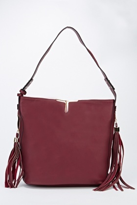 Tassel Side Faux Leather Shoulder Bag