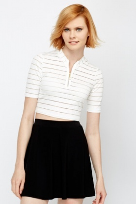 Mesh Striped High Neck Crop Top