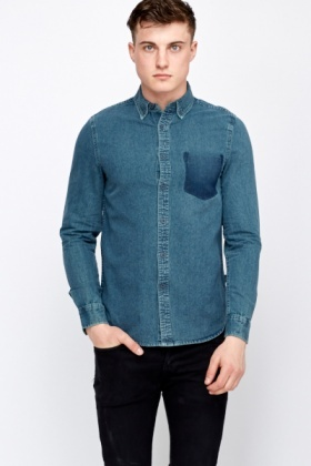 Pocket Print Long Sleeved Shirt