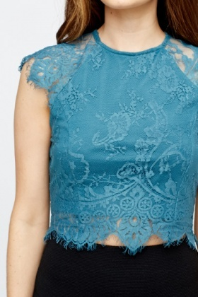 Zip Back Lace Top