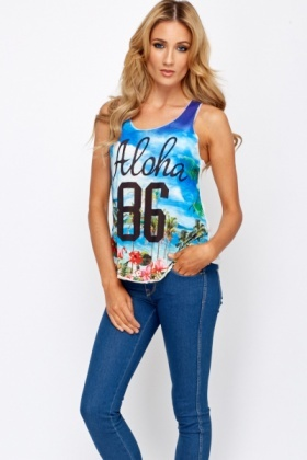 Hawaii Print West Top