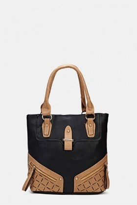Contrast Faux Leather Handbag