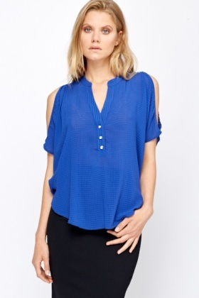 Cut Out Batwing Textured Blouse
