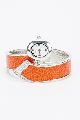 Reptile Skin Effect Cuff Watch With Crystal Detail