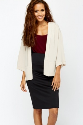 Silky Feel Open Front Black Cardigan
