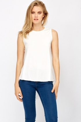 Mesh Back Dip Hem Shell Top