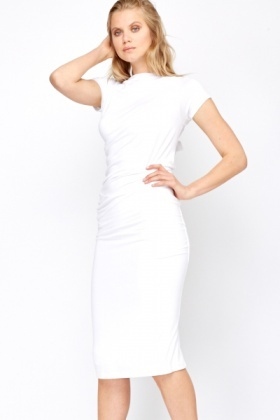 White Cross Body Belted Dress