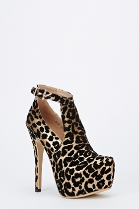Animal Print Open Ankle Chunky Heels