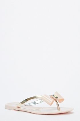 8df016fe7a2e Bow Gem Jelly Flip Flops - Just £5