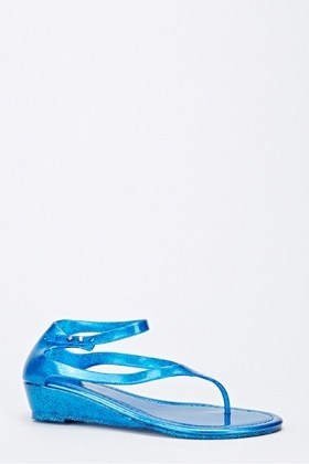 Glitter Jelly Wedge Sandals