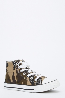 Camouflage High Top Canvas Trainers