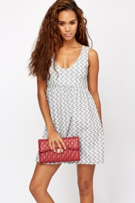 Contrast Printed Skater Dress