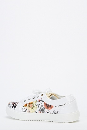 Floral Insert Contrast Canvas Trainers
