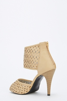 Cut Out Chunky Strap Mid Heels