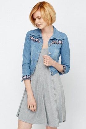 Embroidered Trim Denim Jacket