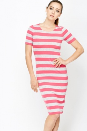 Contrast Striped Jersey Midi Dress
