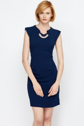 Encrusted Necklace Cap Sleeve Dress
