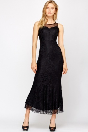 Lace Overlay Sweetheart Neck Maxi Dress