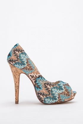 Embroidered Contrast High Heels