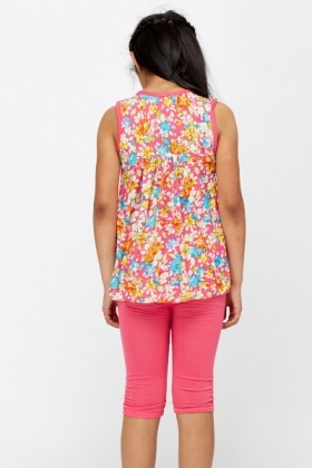 Floral Top And Leggings Set