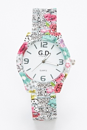 Multi Floral Print Watch