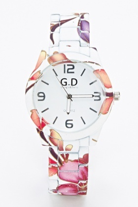 White Multi Floral Watch